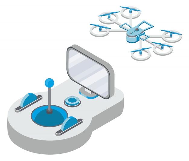 Quadcopter e illustrazione del telecomando