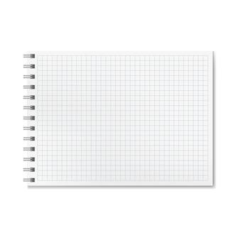 Quaderno a righe grafico realistico orizzontale