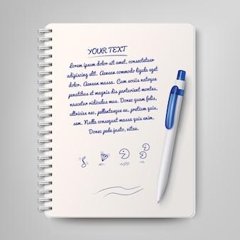Quaderno a spirale e penna a sfera bianca. illustrazione di vettore
