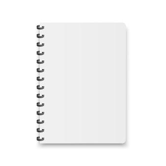 Quaderno bianco, quaderno, menu con spirale metallica.