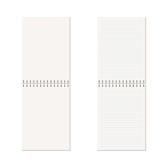 Quaderno bianco verticale con spirale metallica.