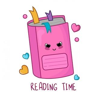 Quaderno o taccuino rosa del fumetto di kawaii, di nuovo a scuola e concetto di apprendimento
