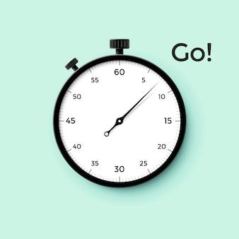 Quadrante bianco cronometro con puntatore nero e scritta go