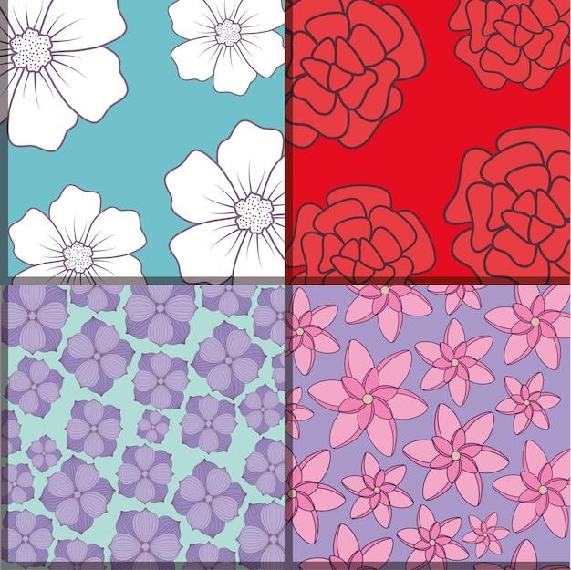 Quadrati di pattern di fiori belli e tropicali