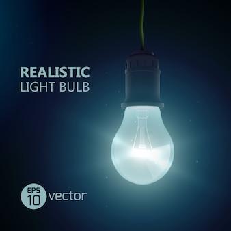 Quadrato con lampada finale con lente luminante realistica appesa a un filo che brilla in una stanza buia con illustrazione del titolo editabe