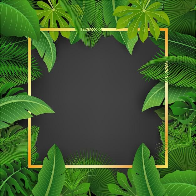 Quadrato dorato con spazio testo circondato da foglie tropicali