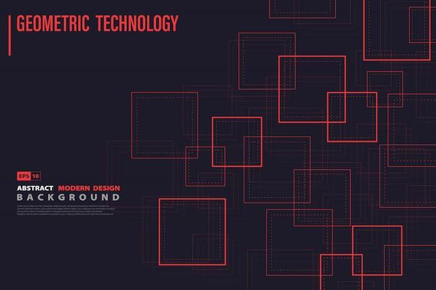 Quadrato rosso astratto del fondo di progettazione di tecnologia.