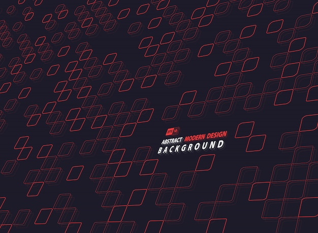 Quadrato rosso astratto di progettazione di tecnologia su fondo scuro.