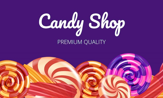 Qualità premium shop candy su sfondo viola