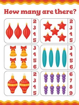 Quanti sono i giochi educativi per bambini con decorazioni per l'albero di natale. foglio di lavoro di natale in età prescolare o all'asilo. illustrazione