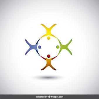 Quattro astratti sagome umane logo
