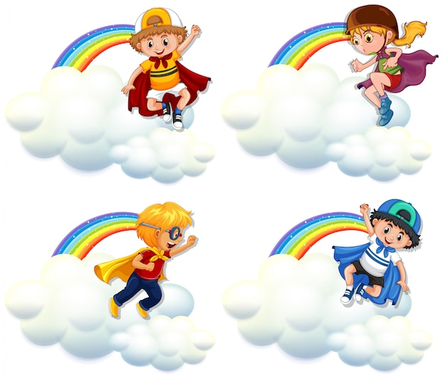 Quattro bambini in costume da eroe che sorvolano arcobaleno