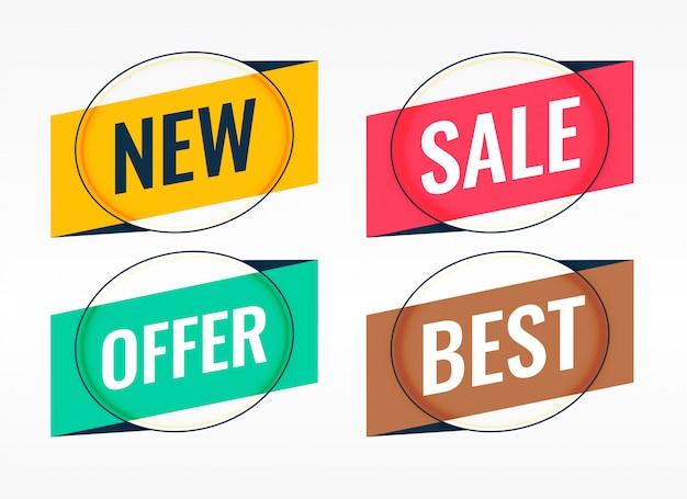 Quattro banner origami promozionali e di vendita