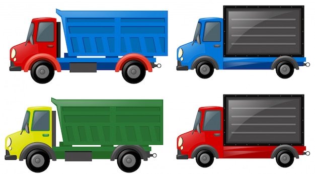 Quattro camion in diversi colori