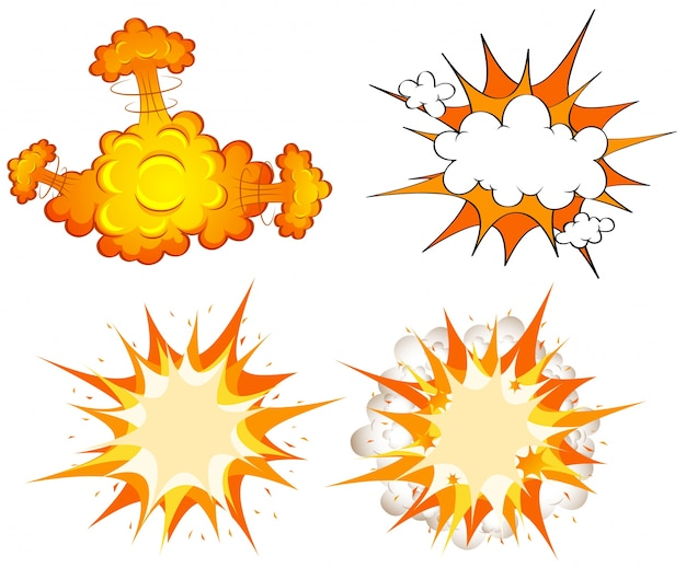 Quattro design di esplosioni di nubi