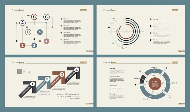 Quattro diagrammi di analisi impostare i modelli di diapositive