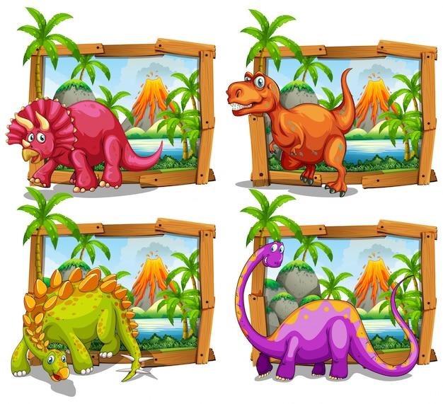 Quattro dinosauri in illustrazione di telaio in legno