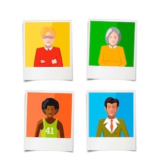 Quattro diverse foto istantanee polaroid con ritratti di persone piatte