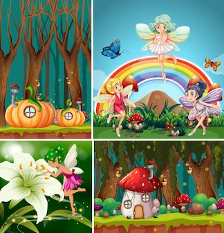 Quattro diverse scene del mondo fantastico con belle fate nella fiaba e villaggio di zucca nella foresta