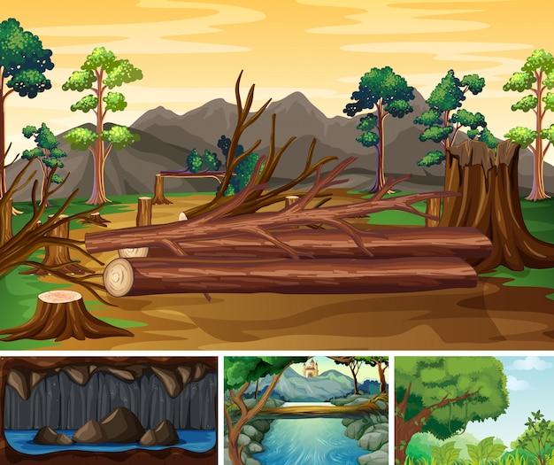 Quattro diverse scene di catastrofi naturali in stile cartone animato foresta