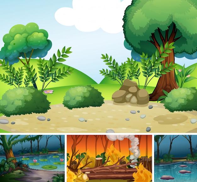 Quattro diverse scene di disastro naturale in stile cartone animato foresta