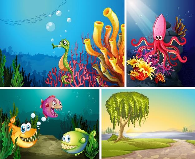 Quattro diverse scene di spiaggia tropicale e sott'acqua con mare creater