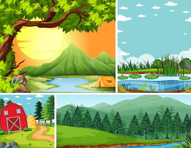 Quattro diverse scene in stile cartone animato ambientazione della natura