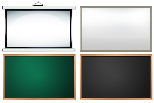 Quattro diversi tavoli e telai