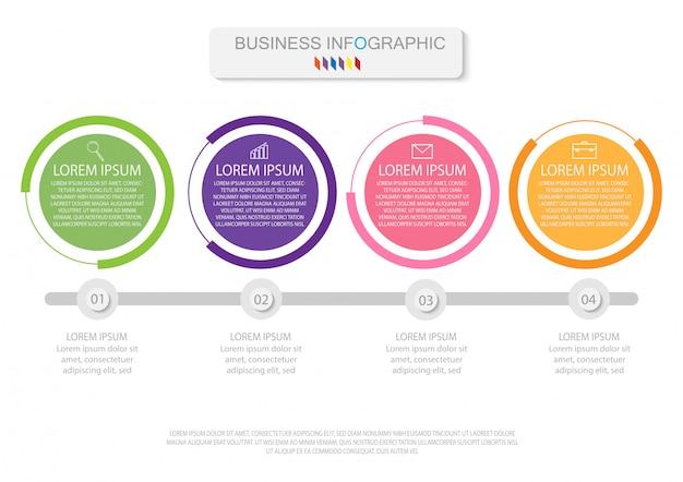 Quattro elementi colorati con icone lineari, opzioni o processi. può essere usato per la cronologia