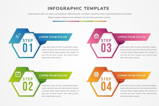 Quattro elementi esagonali a forma diagonale per titolo e numeri all'interno. il modello di progettazione infografica moderna utilizza il gradiente blu, rosa, verde e arancione.