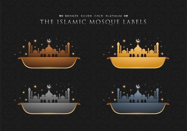 Quattro etichette moschea islamica. illustrazione vettoriale