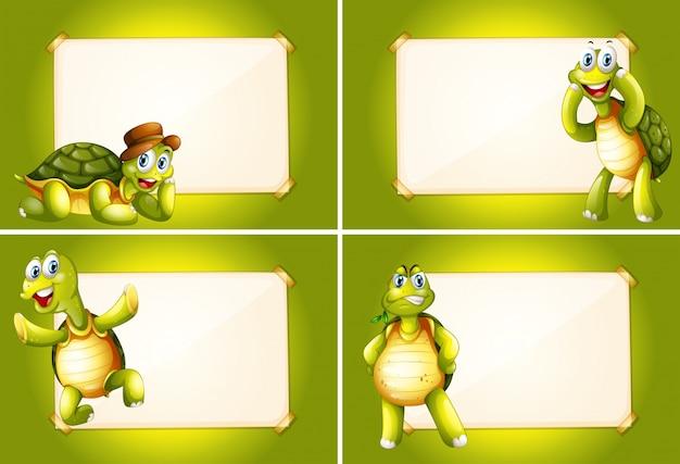 Quattro fotogrammi con tartarughe verdi