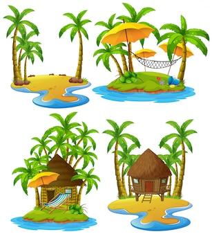 Quattro isole con capanne di legno e alberi di cocco