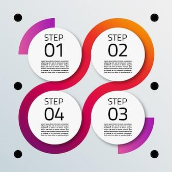 Quattro opzioni con forma circolare per infografica