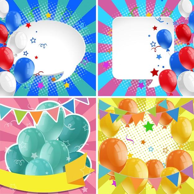 Quattro progettazione di sfondi con palloncini