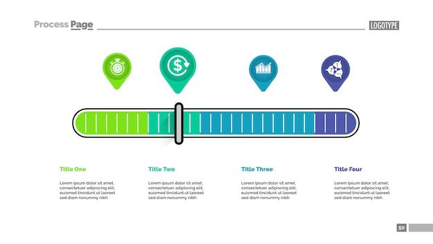 Quattro puntatori ridimensionano il modello del diagramma di processo della metafora per la presentazione.