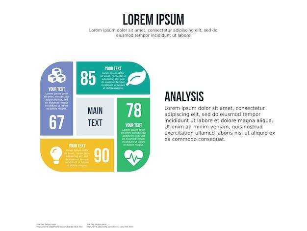 Quattro quadrati infographic elemento e modello di presentazione