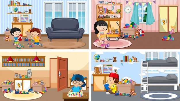 Quattro scene con bambini che giocano in stanze diverse