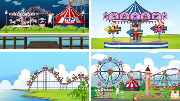 Quattro scene con scimmie felici nel parco del circo