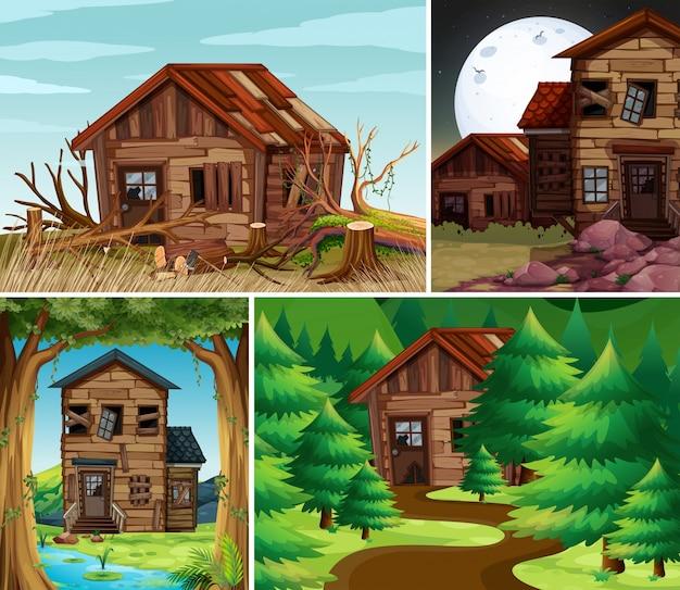 Quattro scene con vecchie case nel campo