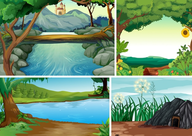 Quattro scene di natura diversa della foresta e del fiume in stile cartone animato