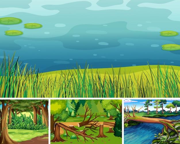 Quattro scene di natura diversa della foresta e palude in stile cartone animato