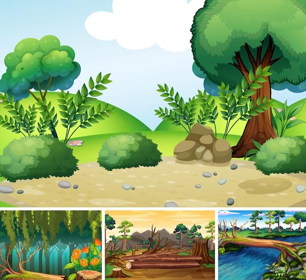 Quattro scene di natura diversa di foresta e fiume in stile cartone animato