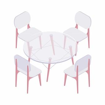 Quattro sedie isometriche e tavolo rotondo trasparente.