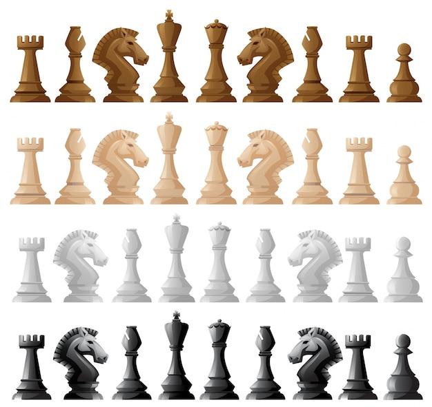 Quattro set di illustrazioni di pezzi di scacchi