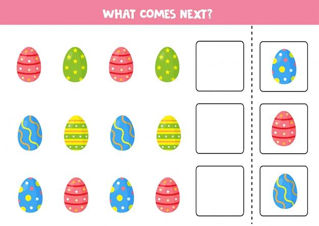 Quello che viene dopo. gioco di sequenza per bambini. set di uova di pasqua.