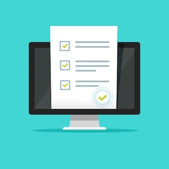 Questionario sondaggio online o documento di voto con timbro su computer pc