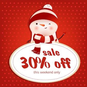Questo disegno di poster rosso vendita week-end con pupazzo di neve ammiccante