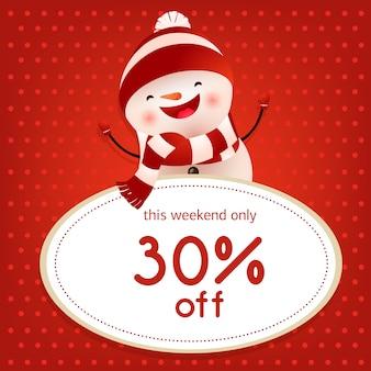 Questo poster di vendita in rosso per il weekend con pupazzo di neve danzante