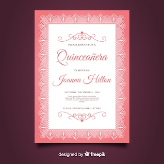 Quinceanera flat lace party card